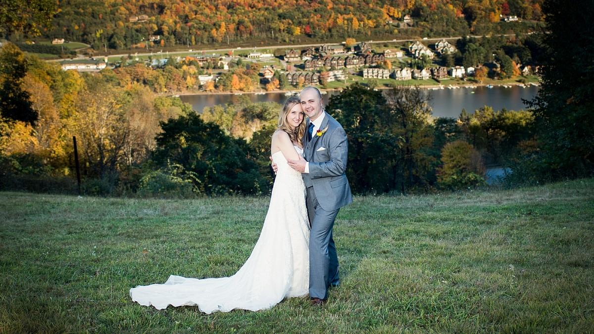 Bridal couple at Wisp near Deep Creek, Maryland